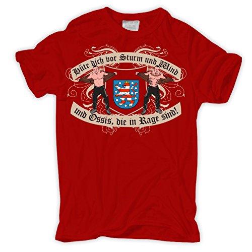 Männer und Herren T-Shirt Ossis in Rage Thüringen Rot