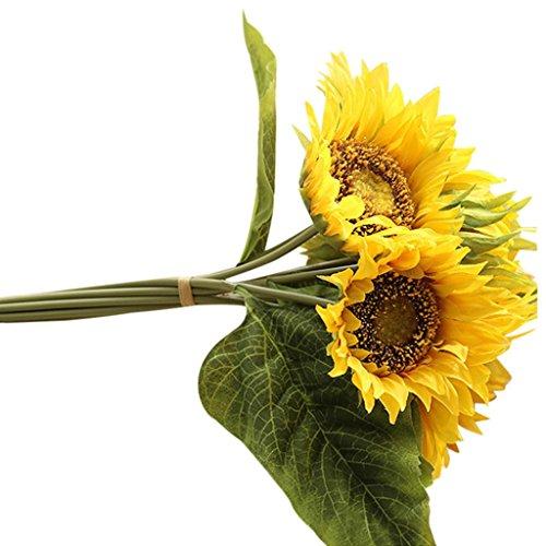 LUCKDE Künstliche Blumen mit Blätter, 7 Stück Sonnenblume Real Touch Schöne Moisturizing Curling Knospe Latex Kunstblumen Blume Dekoration Blumenstrauß Blumenarrangement (Gelb)