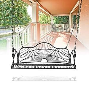 Hängesessel für Terrasse Garten Veranda mit Ketten und Armlehnen