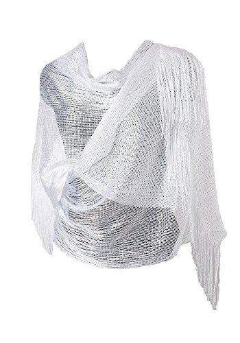 Diarylook, sciarpa glitter per abiti da sera, da donna, stola per vestiti con frangia sull'orlo bianco metallizzato xl