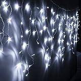 VINGO 10m 200 LED Eiszapfen Außenlichterkette Kaltweiß Lichterkette für Weihnachtsfest Party Hochzeit außen Fassaden