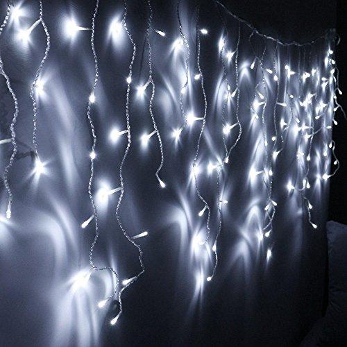 VINGO 10m 200 LED Eiszapfen Außenlichterkette Kaltweiß Lichterkette für Weihnachtsfest Party Hochzeit außen ()