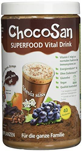 ChocoSan Superfood Vital Drink Getränkepulver mit Stevia, Carob, Kakao, Orangen, Hagebutten, Zimt..., gesundes Kakaogetränk ohne Zucker, kalorienarm, natürliche Vitamine,