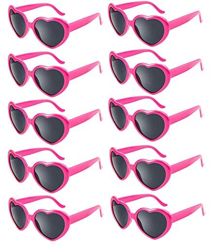 Fsmiling 10 stück Neon Farben Herzform Party Sonnenbrillen Set für Kinder Damen (Pink)