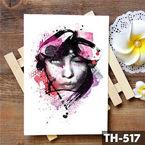 tzxdbh 5Pcs-Wolfskopf Cool Eyes Girl Tätowierung Sticker Red Butterfly Lace Romantic Waterp -