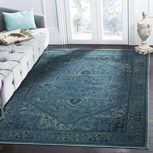 Safavieh Vintage Inspirierter Teppich, VTG114, Gewebter Viskose, Türkis Blau, 160 x 230 cm - Viskose-teppich