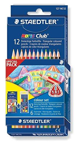 Kredki trójkatne triplus slim 12 kolorów z flamastrami