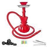 Mianova® Moderne Wasserpfeife Hookah Shisha Neon aus Kunststoff 25cm im Set mit 2 Schläuche, 5 Mundstücke, Zange und Kohle 1 Rolle Rot