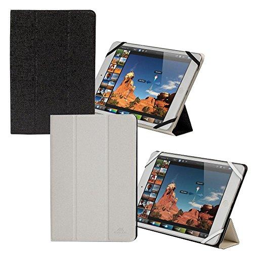 Riva Schutz Tasche Hülle Etui Cover Case Bag mit Standfunktion Schwarz Weiss/Weiss für Blaupunkt Endeavour 1000 QC
