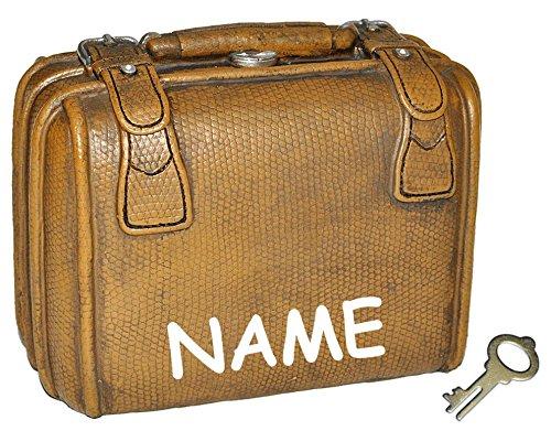 Spardose Koffer - mit Schlüssel + Name - stabile Sparbüchse für die Reisekasse aus Kunstharz - Reisen Geld Sparschwein Reisekoffer Urlaubskasse Kofferkasse