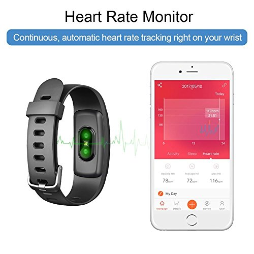 Fitness Tracker ID 107 Plus HR, Tigerhu Smart Armband Activity Tracker Schrittzähler Uhr Fitness Health Smartwatch Armband mit Herz Rate Monitor, Schritt Tracker, Sleep Monitor, Kalorienzähler, GPS Anschluss, Wetter für Android und IOS. -