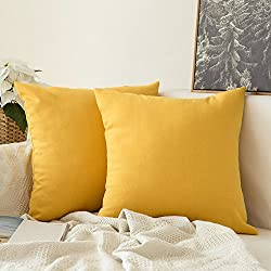 MIULEE Lot de 2 Housse de Coussin 40x40 Effet Lin Decoration Chambre Salon pour Canepe 40x40cm Jaune Citron