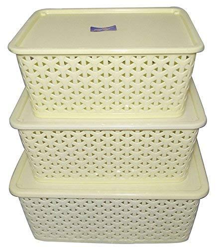 Fair Food 3 Piece Plastic Basket with Lid, Ivory
