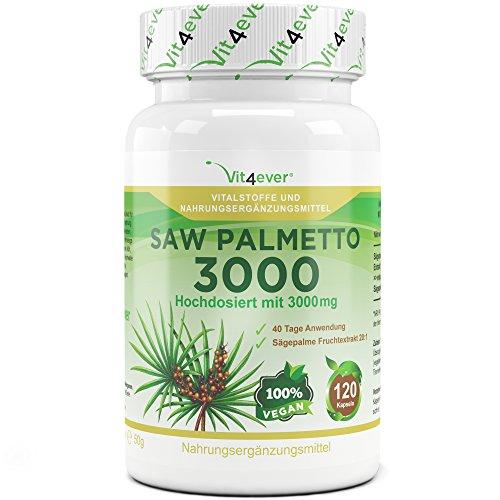 Saw Palmetto 3000, 120 vegane Kapseln, Hochdosiert mit 3000mg Sägepalmepulver, 40 Tage Anwendung, Sägepalme Fruchtextrakt 20:1, Vit4ever