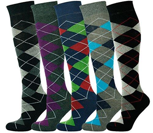 Mysocks® Kniehohe Argyle Socken Mehrfachverpackung 702 (Hoch Argyle Knie)