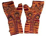 Vishes – alternative Bekleidung – bestickte Handstulpen aus Fleece mit Cutwork – Unikat (Einheitsgröße, Orange mit Ornamenten)