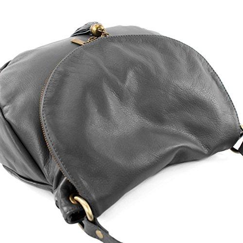 modamoda de - ital. Ledertasche Damentasche Schultertasche Umhängetasche Nappaleder T40 Dunkelgrau