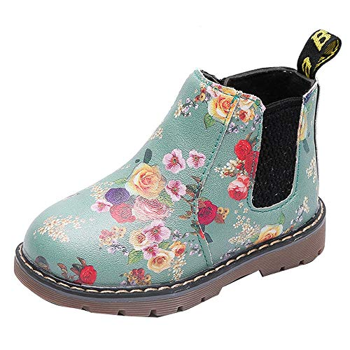 Children Fashion Boys Girls Martin Sneaker Thick Snow Baby Anti-Slip Soft Warm Cute Unisex Casual Floral Printing Shoes Winter Artificial Leather Shoes Black,Green