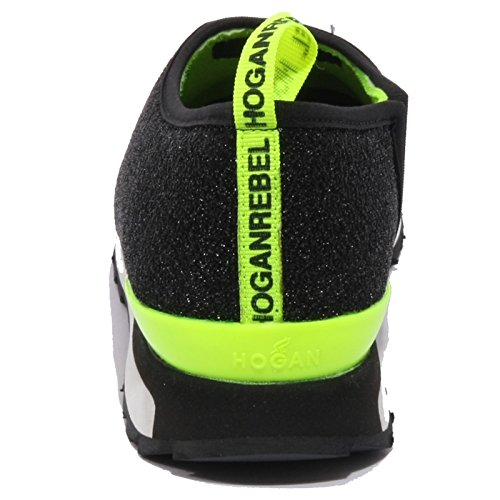 B1451 sneaker donna HOGAN REBEL BALLERINA slip-on scarpa shoe woman Nero/Lime
