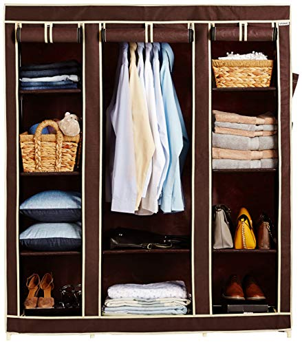 Amazon Brand - Solimo 3-Door Foldable Wardrobe, 10 Racks, Brown