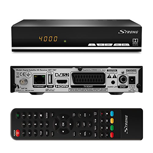 STRONG SRT 7007 HD Satelliten Receiver mit Display 【Free-to-Air, HDTV, HDMI, Ethernet, USB Mediaplayer, SCART】 schwarz