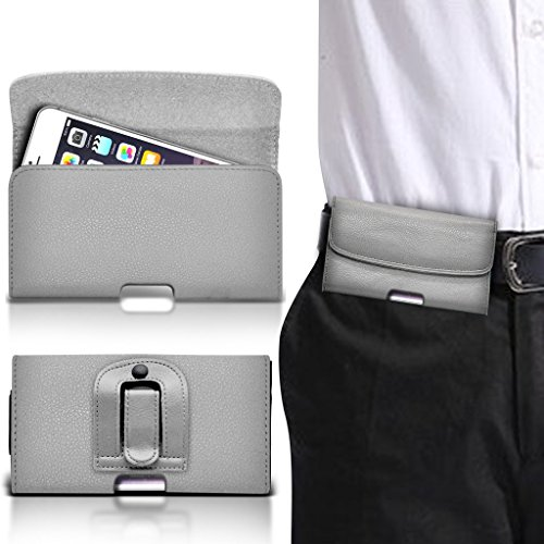 (Black horizontal belt) Case for iPhone 7 Plus Mobile Phone Case (PU) Leather Belt Clip Pouch Case Flip Cover Holster With Magnetic Button + aluminium ear phone By i-Tronixs Belt Flip+ aluminium earphones (Grey)