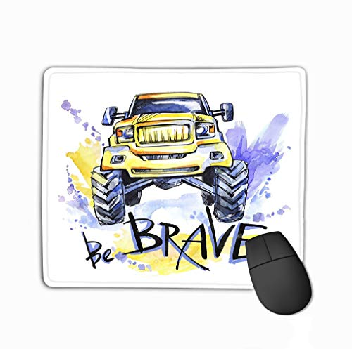 Mouse pad Hand Drawn Card Big car Lettering Words be Brave Watercolor Multicolor Illustration Active Crazy Sport Transport Perfect steelseriesKeyboard -
