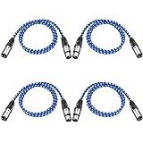 Neewer Pack de 4 Cables XLR DMX de 3 Pins Macho a Hembra 39,4 Pulgadas/ 100 Centímetros para Luces de Escenario LED, Mezcladores, Preamplificadores, Micrófonos y Sistemas de Altavoces(Azul y Blanco)