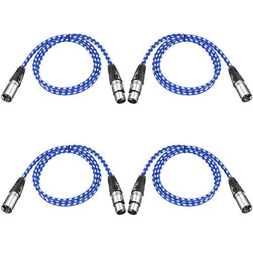Neewer 4 stück Mikrofonkabel XLR-Stecker auf XLR-Buchse für LED Bühne Licht, Mixer, Vorverstärker, Mikrofone und Lautsprechersysteme?1 Meter (blau und weiß)