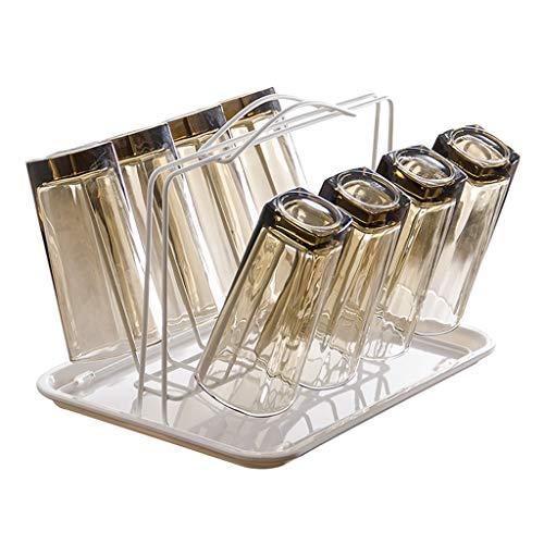 Support de tasse en métal avec support de cuisine pour comptoir d'armoire, support de table en verre avec support à tasse et 8 crochets