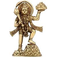 Statua indù dio Hanuman portando in ottone indiano di montagna regalo religioso 22,86 cm