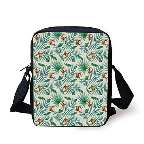 ZKHTO Watercolor,Coconut Fruit Exotic Nature Palm Tree Leaves Aloha Hawaii Polynesian Food,Green Pale Brown Print Kids Crossbody Messenger Bag Purse