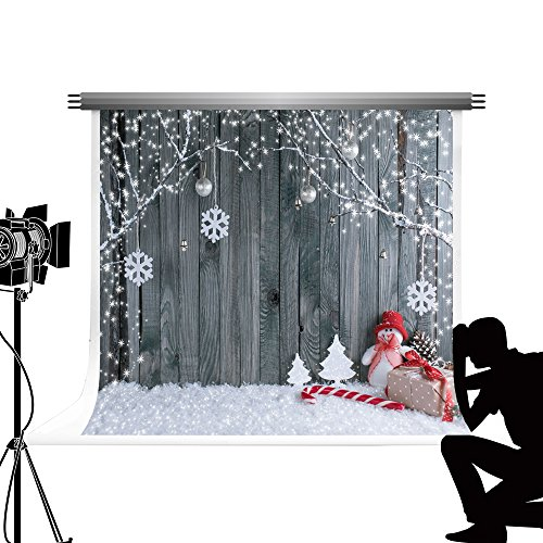 Kate Weihnachten Kulisse für Fotografie Tragbare Graue Holz Wand Schnee Winter Fotostudio Requisiten Hintergrund für Kinder Baby Bilder 10x6.5ft / 3x2m