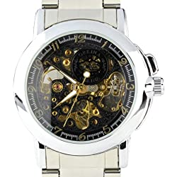 Orkina Mens Black Skeleton Dial Quartz Automatic Stainless Steel Strap Wrist Watch MG015SB