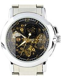 ORKINA MG015-S-Black - Reloj para hombres, correa de acero inoxidable color plateado