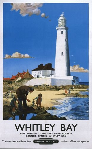 british-rail-whitley-bay-lighthouse-railway-poster-a3-print