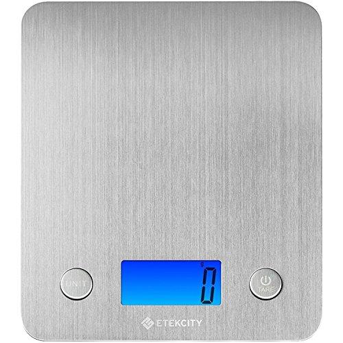 Etekcity Báscula Digital para Cocina, 5 kg / 11 lbs, Plataforma de Acero Inoxidable, con Gran Pantalla LCD e Almohadillas Antideslizantes, Color Plata (EK6211S)