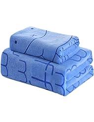 Lot de 2 légers Absorbent ménagers bain Serviettes de sport Serviettes, Bleu