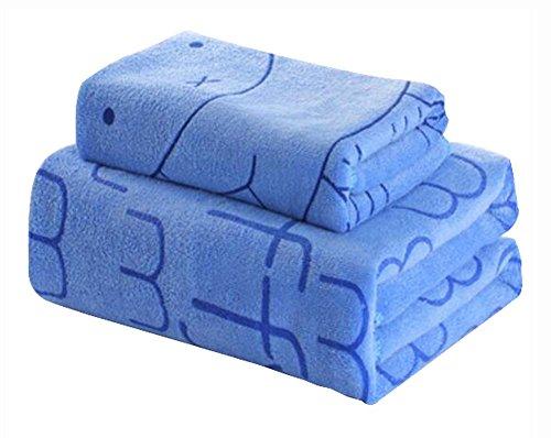 Set von 2 leichten saugfähigen Haushalt Badetücher Sport-Handtücher, blau