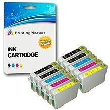 10 Cartuchos de tinta compatibles para Epson Stylus S20, S21, SX100, SX105, SX110, SX115, SX200, SX205, SX209, SX210, SX215, SX218, SX400, SX405, SX410, SX415, SX510W, SX515W, SX600FW, SX610FW, D78, D92, D120, DX400, DX4000, DX4050, DX4400, DX4450, DX5000, DX5050, DX6000, DX6050, DX7000, DX7400, DX7450, DX8400, DX8450, DX9200, DX9400F, DX9450 / Stylus Office B40W, B300F, BX310FN, BX600FW, BX610FW / T0711, T0712, T0713, T0714 (T0715)