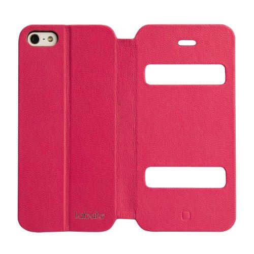 Labato® ECHT Leder(Ziegenleder) Hülle für das iPhone 5 5S SE mit Sichtfenster Standfunktion im Bookstyle Einfach Elegant Case Ledertasche Apple Handy Zubehör Lederhülle mit Versteckende Magnetverschlu pink
