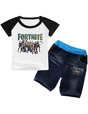 EMILYLE Unisex Fnite Conjunto De Camiseta Y Jerséis Cortos Personajes De Fortnite Impreso Figura para Niños.