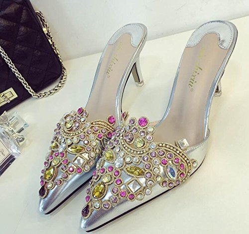 ZYUSHIZ Synthetischer Diamant Hausschuhe Tipp Die Fein mit High-Heel Baotou Frau Sandalen 34EU