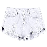 Chnli Women High Waist Washed Ripped Destroyed Denim Shorts Jeans Casual Summer Pant Trouser
