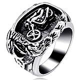 Uloveido in acciaio smaltato nero Aquila e motore da uomo moto anello in titanio per uomini gioielli uomo MT001 e titanio, 24,5, colore: white, cod. MT001-11