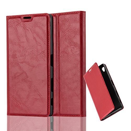 Cadorabo Hülle für Sony Xperia Z5 Premium - Hülle in Apfel ROT – Handyhülle mit Magnetverschluss, Standfunktion und Kartenfach - Case Cover Schutzhülle Etui Tasche Book Klapp Style