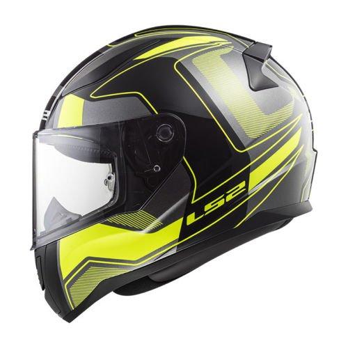 LS2FF353Rapid Full Face Motorrad Erwachsene Crash Helme XL Carrera Matt Black HV Yellow