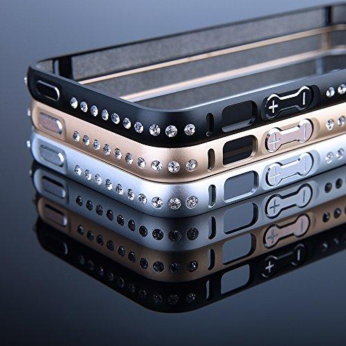 EGO® Kristall Schutzhülle für iPhone 5 / 5s Schwarz Hülle Ultra Dünn Luxus Metall Case Cover Hard Bumper Schutz Aluminium Handy Tasche Schale Gold