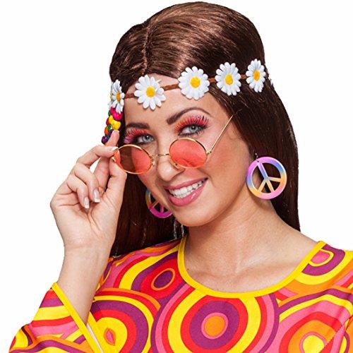 Amakando 70er Jahre Kostümset Flower Power Schmuck Set 3 TLG. Brille Haarband Ohrringe Hippie Set Karnevalskostüme Accessoires Mottoparty Kostüm Zubehör Peace Stirnband Sonnenbrille Creolen
