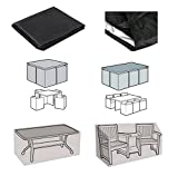 Diossad Patio Protective Furniture Cover Black Rectangular Extra Large Waterproof Garden Patio Set Cover Table and Chair Set Cover 250 x 250 x 90cm